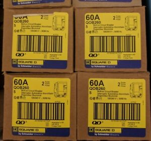 Square D Qob260 Bolt on Circuit Breaker box Of 5 Brand New With Warranty