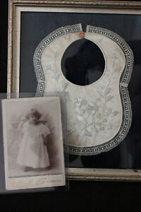 Antique Victorian Mourning Framed Memorial Memento Babby Bib With Photo