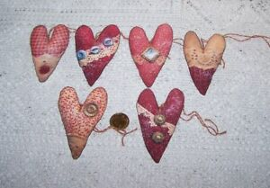 6 Valentines Day Primitive Heart Fussy Cut Linen Cardstock Gift Hang Tags