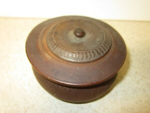 Antique Treen Ware Wood Turning Covered Jar Bowl