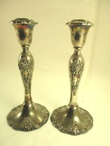 Pair Of Baroque By Wallace 750 Heavy Silver Plated 9 Inch Candlesticks