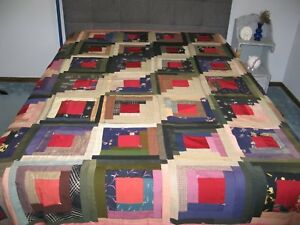Antique Vintage Log Cabin Quilt 1900s Hand Pieced Wool Silk Rustic Primitive