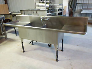 Stainless Steel 2 bay Commercial Sink 2 drain Boards 28 X 96 15 Guage