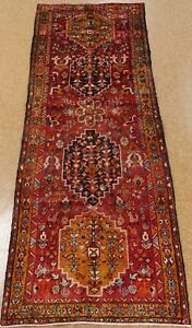 Tribal Hand Knotted Wool Rust Persian Herizz Oriental Rug Runner 3 9 X 10 2