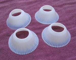 4 Vintage Art Deco White Glass With Blue Hue Ribbed Lamp Light Shades Stock 11