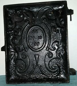 Vintage Cast Iron Ornate Wood Stove Furnace Door Approx 11 X8 75 Steampunk