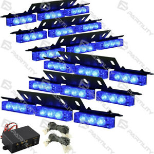 54 Blue Led Emergency Vehicle Strobe Flash Lights Front Grill Car Truck Traffic