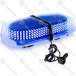 240 Led Blue Light Emergency Warning Strobe Flash Yellow Magnetic Roof Advisor
