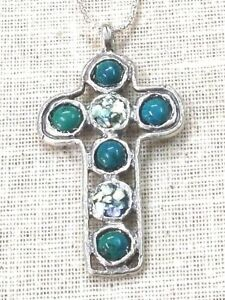 Roman Glass Cross Silver Pendent 925 Ancient Fragments 200 B C Eilat Stones Isr