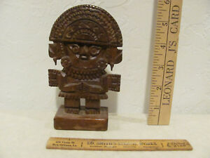 Decorative Hand Carved Wooden Peruvian God Naylamp Statue