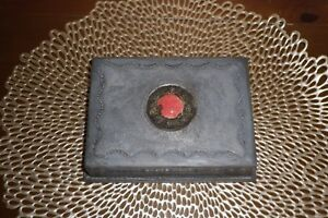 Very Early Arts And Crafts Or Export Pewter Cannetille W Cabachon Box