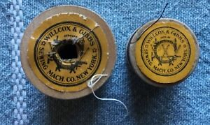 2 Rare Antique Wooden Spools Sewing Thread Willcox Gibbs Sewing Machine Co