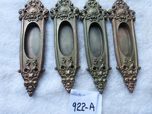 Antique R E Anjou Heavy Cast Victorian Pocket Door Pulls Four Set 922 A