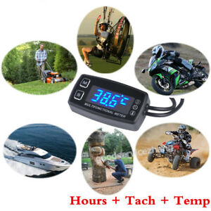 Led Tach hour Meter Thermometer Temp Meter Forgasoline Marine Outboard Paramotor
