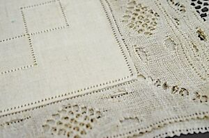 Vintage Bruges Linen Lace Placemats Napkins For 12 Uu147