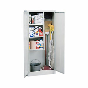 Sandusky Lee Welded Steel Janitorial Cabinet 30x15indx66 Light Gry Vfc1301566 05