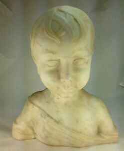 Antique Large Carved Marble Bust The Little Boy