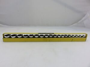Mac Metric Shallow Socket Set 18pc 6mm 23mm 3 8 Dr Chrome Caddy Made In Usa
