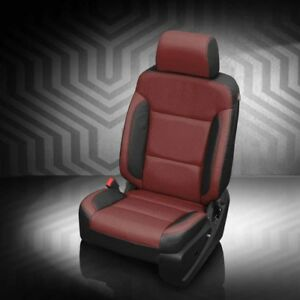 Katzkin Blk Med Red Leather Seat Cvr Fit 2016 2018 Gmc Sierra Double Cab 1500 Lt
