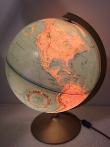 Vintage Replogle Lighted World Globe 12 Lamp Light