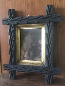 Early Deep Carved Walnut Picture Frame Folk Art