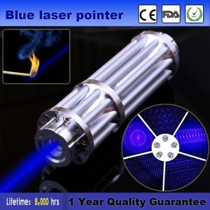 450nm High Power Laser Pointer Pen Blue Military Burning Lazer Visible Beam Ems