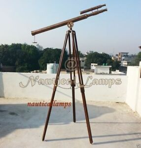 Floor Standing Antique Brass Telescope With Tripod Stand Vintage Telescope
