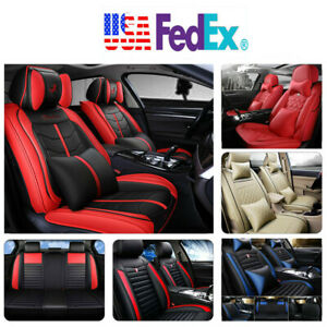 Pu Leather 100 Car Seat Cover 5 seat Suv Cushions Front Rear Set W pillows Us