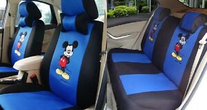 Black Blue Cartoon Mickey Mouse Auto Car Front Rear Seat Cushion 10pcs