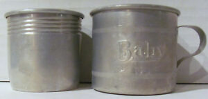 Antique Aluminum Baby Cups From 1925 Lot Of 2