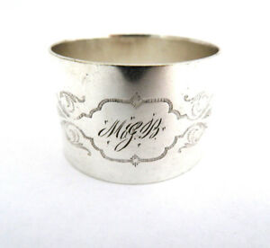 Vintage Silver Plated Napkin Ring Mono M J B In Cartouche
