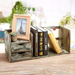 Distressed Desktop Offsurface Shelves Torched Wood Bookshelf Organizer With 2