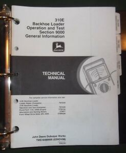 John Deere 310e Loader Backhoe Technical Service Op Test Manual Tm1648