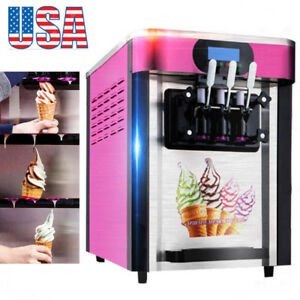 Usa New Commercial Soft Ice Cream 3 Flavor Steel Frozen Yogurt Cone Maker A