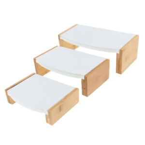Jewelry Ring Bracelet Display Stand Tray Holder Showcase White Leather