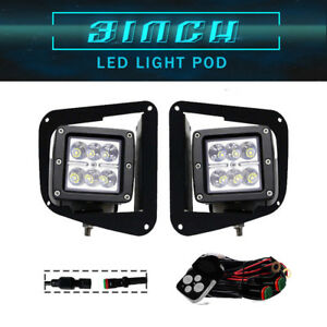 2x 3inch Cree 18w Spot Led Work Light Square Cube Pods Offroad Fog Lamps