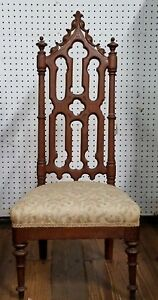 Gothic Revival Chair Carved Walnut Low Upholstered Seat Antique
