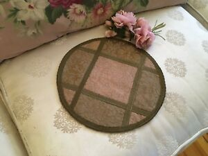 Antique Victorian French Brocade Pink Table Runner Metalwork Trim Pink N18