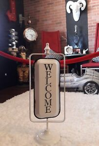 Welcome Table Sign Vintage Tin Open Closed Two Sided White Enamel Metal Spins