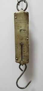 Antiques Vintage Brass Chatillons Spring Balance Scale Meat Fish 0 50 Lbs Works