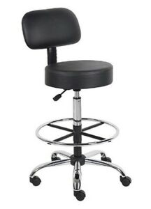 Boss Office Products B16245 bk Be Well Medical Spa Drafting Stool With Back Bla