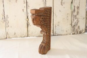 Antique Carved Wood Element Fireplace Pce Lady Female Bust Fish Scale Claw Foot