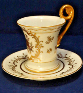 Antique 1800 S French Empire Old Paris White Gold Curled Handle Cup Saucer