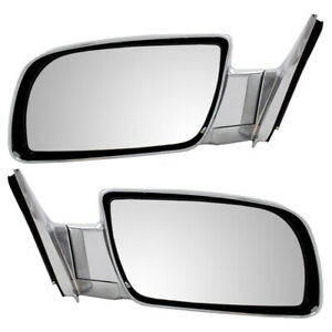New Pair Set Manual Side View Mirror Chrome Specialty Chevy Gmc Suv Pickup Truck