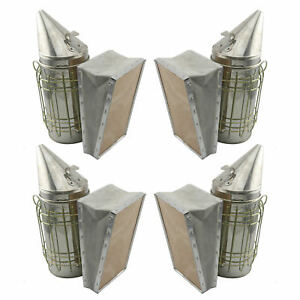 Set Of 4 Bee Hive Smoker Stainless Steel W Heat Shield Beekeeping Equipment