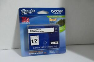 Brother P touch Tze 231 Black Lettering On White Label Tape 1 2 X 26 Ft 4 New