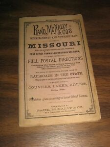 1883 Missouri Rand Mcnally Pocket Map Railroads Post Offices Telegraph Stations