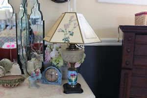 Antique Blue Glass Hurricane Lamp Electrified Victorian Blue Lamp With Shade
