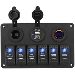 6 Fuse Holders Gang Marine Toggle Rocker Switch Panel Waterproof With Digital Rv