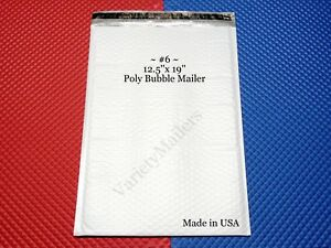 30 Large 6 12 5 x 19 Poly Bubble Envelopes Made In Usa Free Priority Shipping